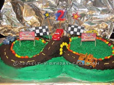 Coolest Cars Race Track 2nd Birthday Cake