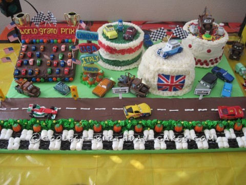 Awesome CARS 2 Scene Made of Cakes for a 4th Birthday