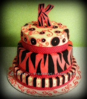 Coolest Multi-Pattern Zebra Print Birthday Cake