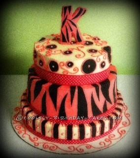 Coolest Multi-Pattern Zebra Print Birthday Cake