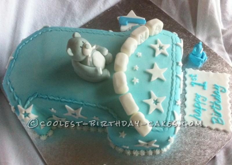 Number 1 Birthday Cake Decoration Ideas : Coolest Number 1 with Teddy Bear Birthday Cake