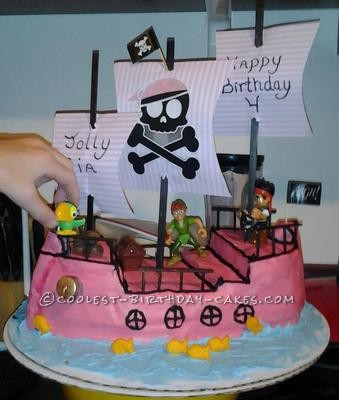 Coolest Pink Pirate Ship Cake