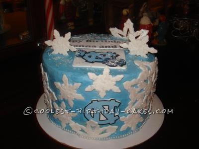 Coolest Tarheel Snowflake Birthday Cake