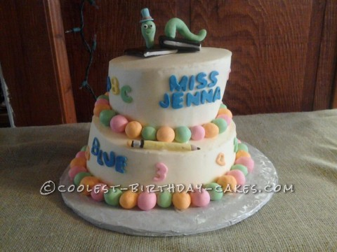 Coolest Topsy Turvy Bookworm Cake for a Teacher