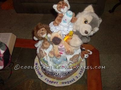 Coolest Woodland Animals Diaper Cake