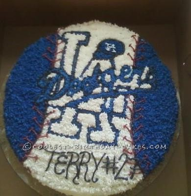 Coolest Dodgers Logo on a Baseball Cake