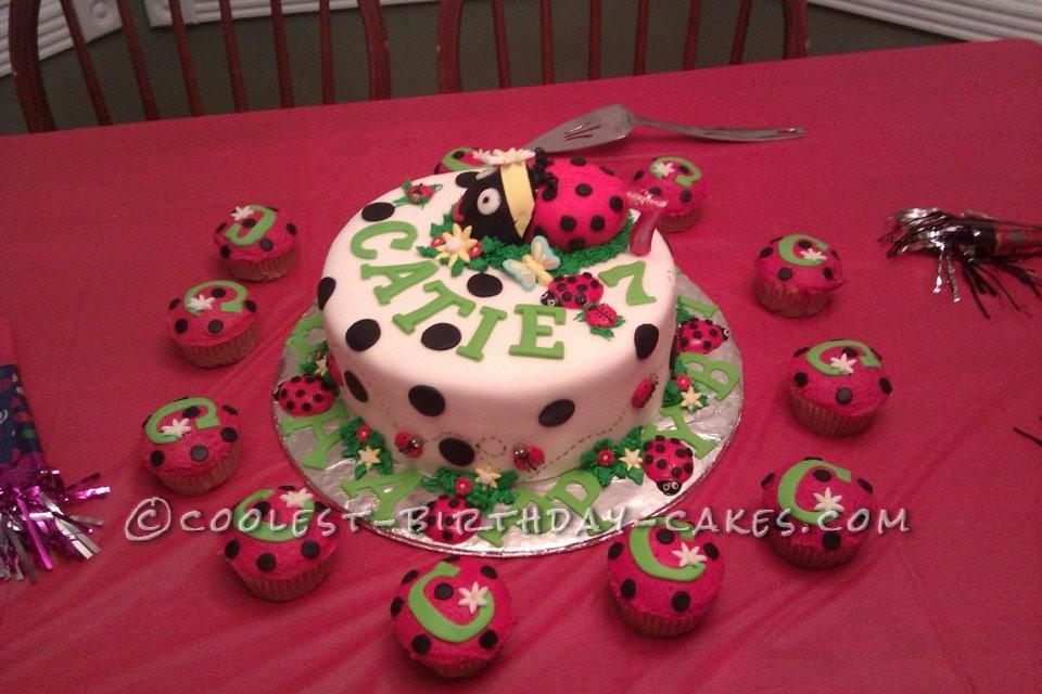 Cool Ladybug Birthday Cake And Cupcakes