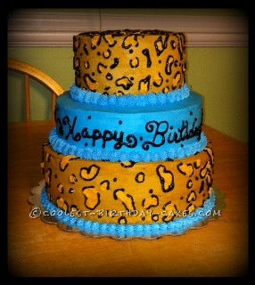 My Leopard has the Blue's Sweet 16 Cake