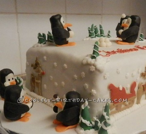 Coolest Penguin Winter Wonderland Cake