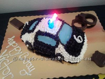 Coolest Police Car Cake with Finger Lights