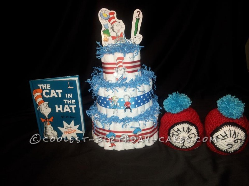 Coolest Cat in the Hat with Thing 1 and Thing 2 Diaper Cake