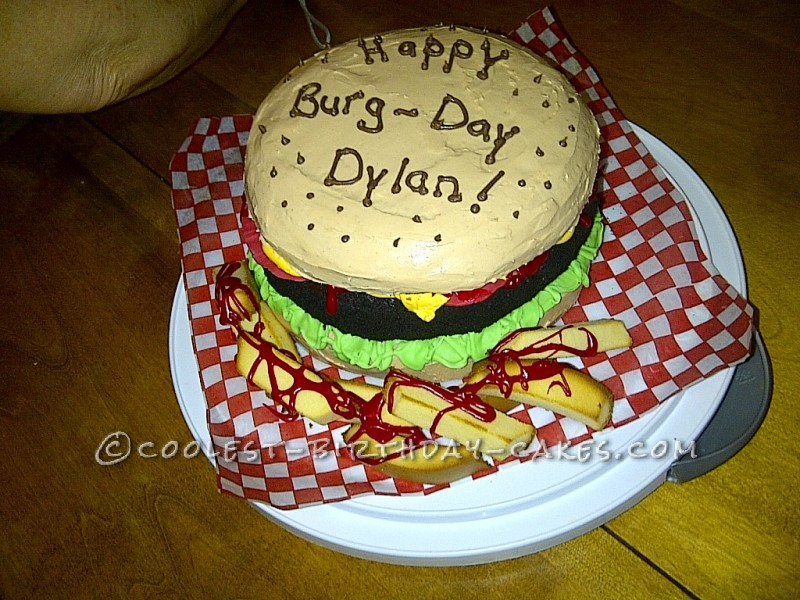 Hamburger Lover Birthday Cake For A 9 Year Old Boy
