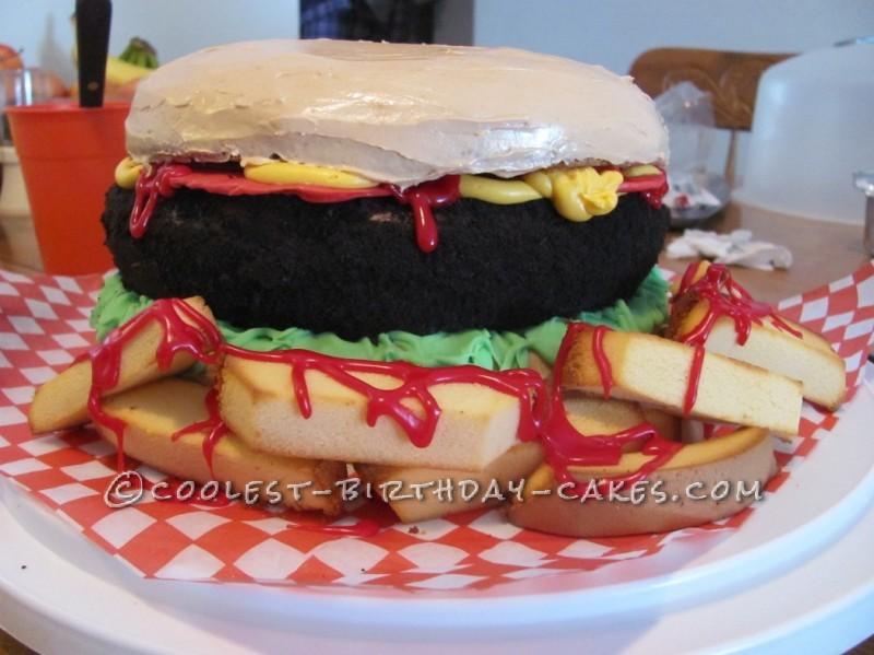 Hamburger Lover Birthday Cake for a 9-Year-Old Boy