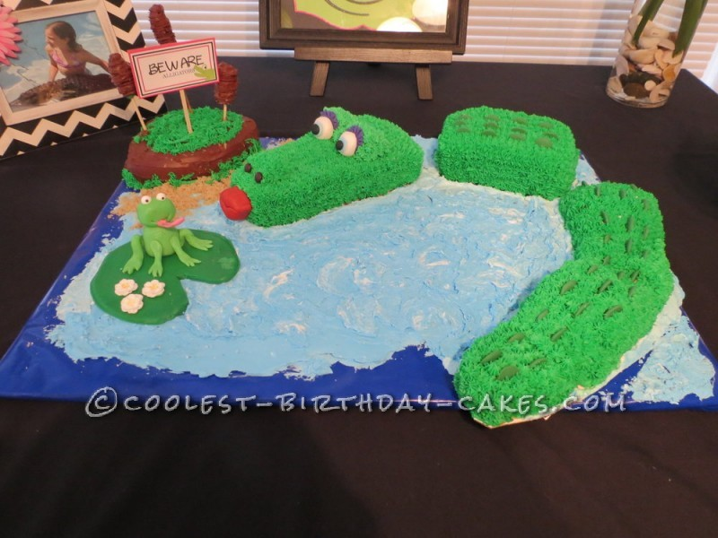 Astounding Cool Birthday Cake Idea Alligator In Water Funny Birthday Cards Online Alyptdamsfinfo