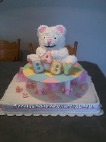 Cute Teddy Bear Baby Shower Cake