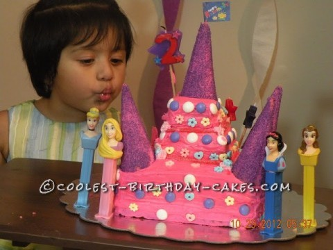 Disney Princes Castle Cake for 2 Year Old Princess