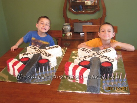 Coolest Railroad Crossing Gate Birthday Cakes for Twins