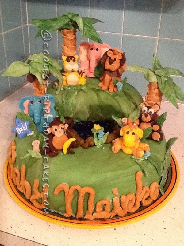 Jungle Themed 1st Birthday Cake with Lions, Tigers and Bears