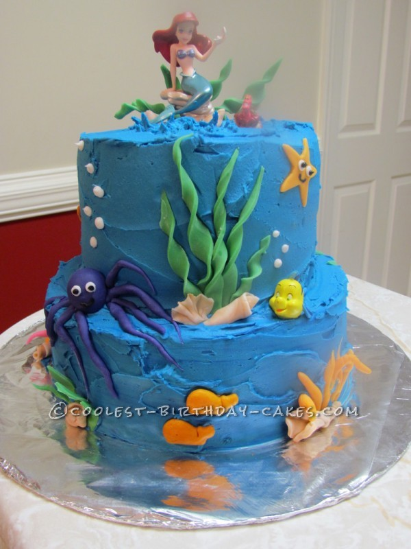 Cool Little Mermaid in an Ocean Cake