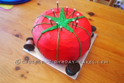 Tomato pin cushion cake