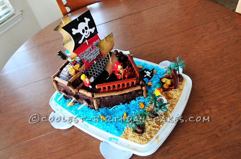 Brilliant Coolest Pirate Ship Birthday Cake Birthday Cards Printable Riciscafe Filternl