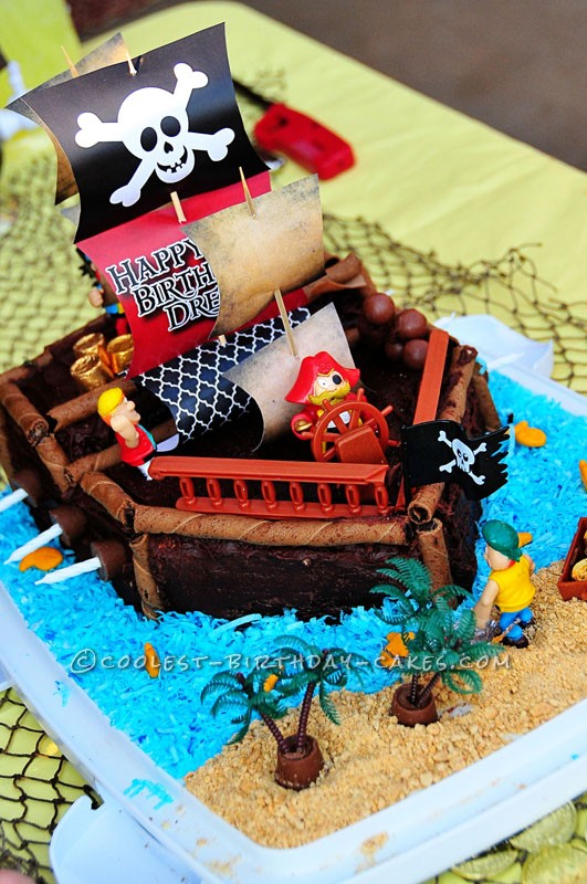 Incredible Coolest Pirate Ship Birthday Cake Birthday Cards Printable Riciscafe Filternl