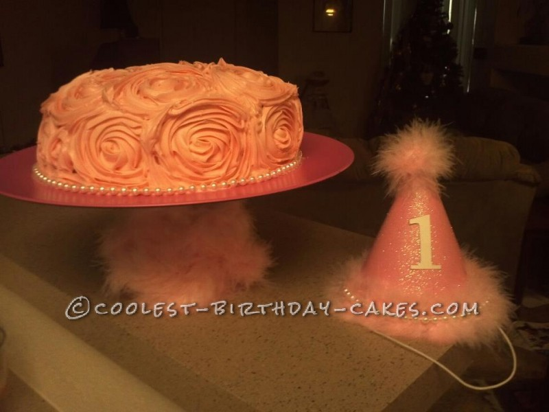 Pink Ombre Ruffle Cake for Princess' First Birthday