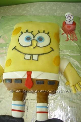 Marshmallow Fondant Spongebob Birthday Cake