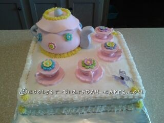 My Granddaughter Madison Wanted A Tea Party Cake For Her 8th Birthday Ive Used This Site Many Times Over The Years Inspiration And Helpful Tips