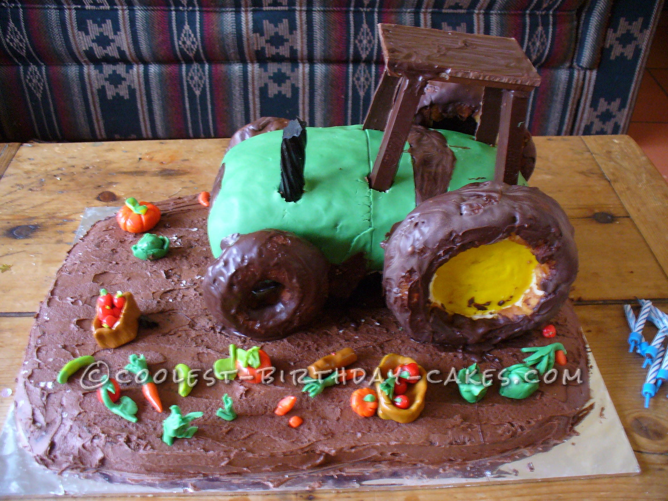 Awesome Chocolate Mud Tractor Birthday Cake with Vegetables