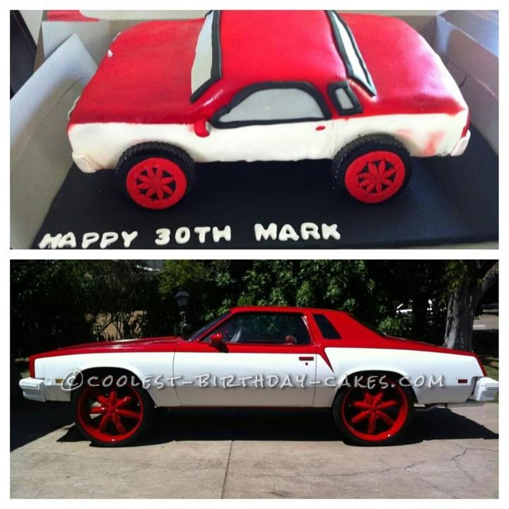30th Birthday Car Cake with 24-inch Rims