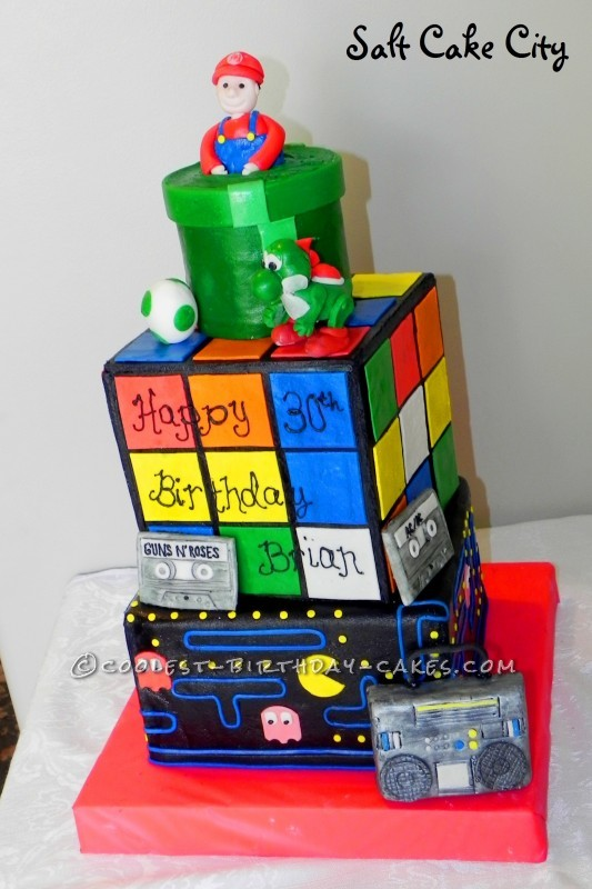 Coolest 80's Theme Rubik's Cube Cake