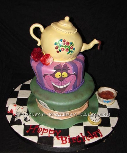 Coolest Alice in Wonderland Topsy Turvy Cake