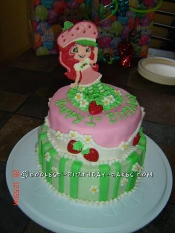Sweet Strawberry Shortcake Birthday Cake