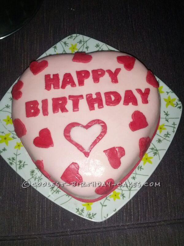 Homemade Heart Shaped Birthday Cake