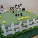 Cool 90th Birthday Cake Idea: Chickens Playing Lawn Bowls