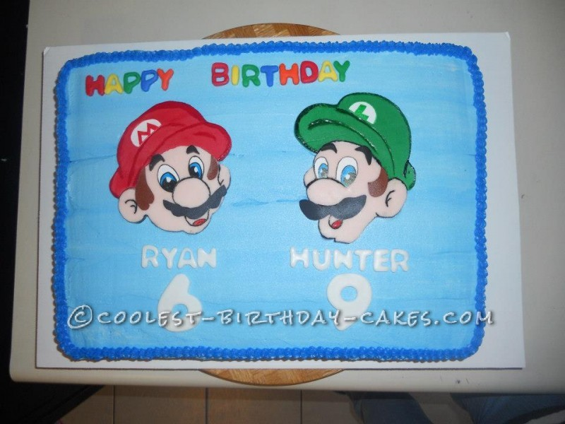 Pleasing Colorful Mario And Luigi Cake For Two Brothers Funny Birthday Cards Online Unhofree Goldxyz