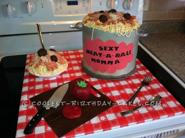 Coolest Spaghetti and Meatballs Birthday Cake