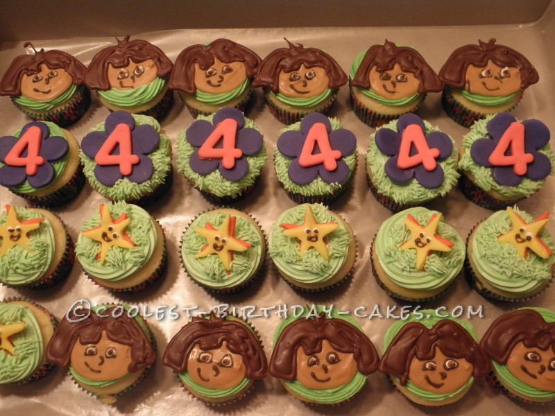 Cool Dora the Explorer 4th Birthday Cupcakes