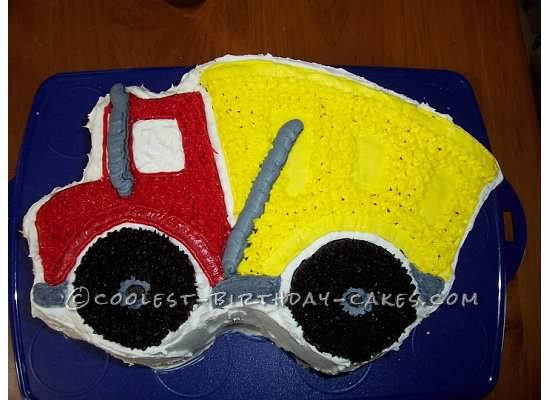 Cool Dump Truck Cake made with Wilton's Dump Truck Cake Pan