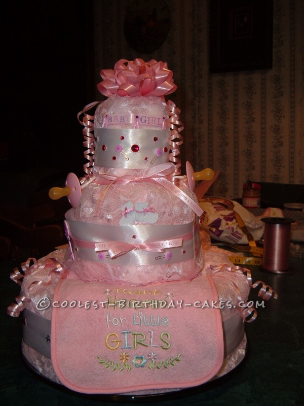 Girly Pink Lace Diaper Cake