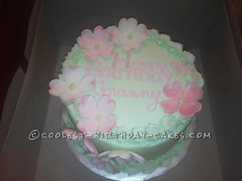 Last Minute Dogwood Cake for 90th Birthday