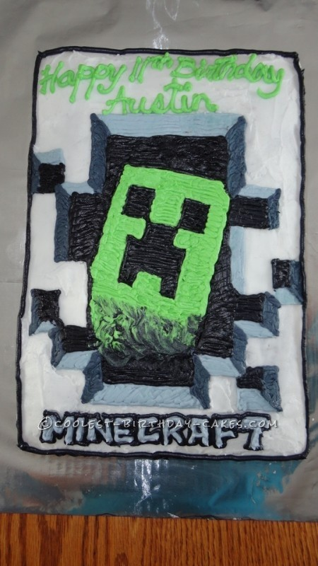 Strange Coolest Minecraft Creeper Cake Personalised Birthday Cards Paralily Jamesorg