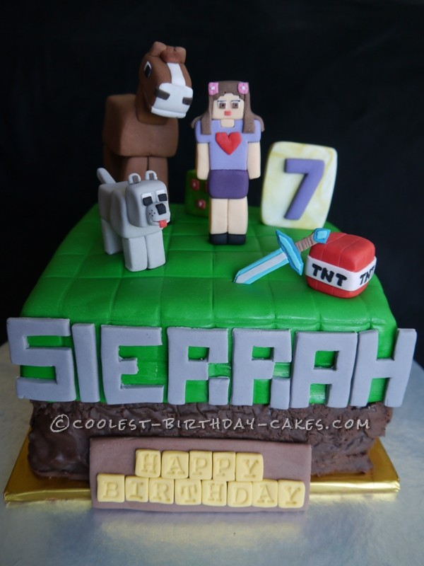 Prime Minecraft Inspired Cake For Girls Funny Birthday Cards Online Eattedamsfinfo