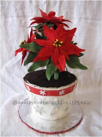 Awesome Poinsettia Flowers Christmas Cake