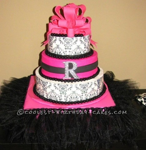 Coolest Pink and Black Damask Cake