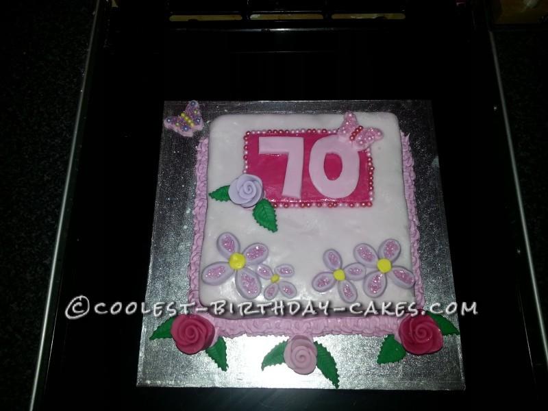 Flowery Pink and Purple 70th Birthday Cake