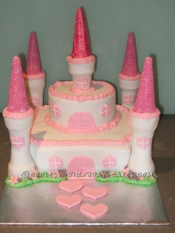 Pink and White Castle Cake