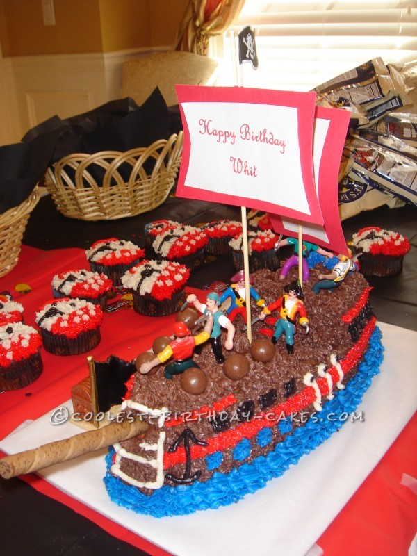 Super Cool Pirate Ship Birthday Cake For 4 Year Old Personalised Birthday Cards Veneteletsinfo