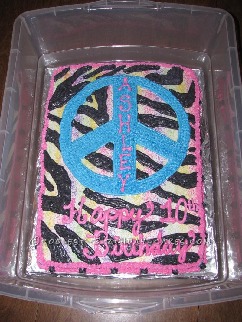 Coolest Homemade Rainbow Zebra Peace Cake